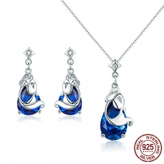 100% Genuine 925 Sterling Silver Ocean Legend Fish Story Women Wedding Jewelry Set Sterling Silver Jewelry Gift ZHS063