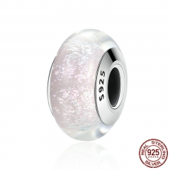 Genuine 925 Sterling Silver White Pattern European Murano Glass Charm Beads fit Women Bracelets & Bangles Jewelry SCZ065