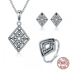 Genuine 100% 925 Sterling Silver Geometric Lines Clear CZ Earrings Necklace Jewelry Set Sterling Silver Jewelry ZHS050