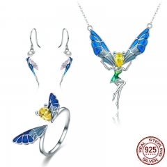 100% Real 925 Sterling Silver Forest Fairy Colorful Crystal CZ Women Jewelry Set Sterling Silver Jewelry Gift ZHS061