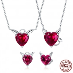 Authentic 925 Sterling Silver Red CZ Evil And Angel Pendant Necklace Earrings Jewelry Set Sterling Silver Jewelry ZH067