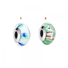 Wholesale Real 100% 925 Sterling Silver European Murano Glass Beads Charms fit Bracelets & Bangles DIY Jewelry SCZ017