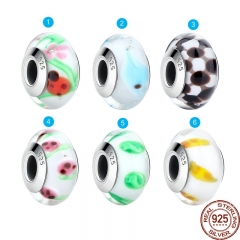 Wholesale High Quality 925 Sterling Silver European Murano Glass Beads Charms fit Bracelets & Necklaces Jewelry SCZ016