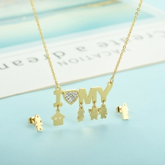 popular cubic zirconia brass charm stainless steel jewelry set XXXS-0342