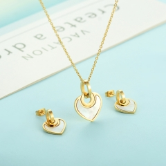 popular cubic zirconia brass charm stainless steel jewelry set XXXS-0344